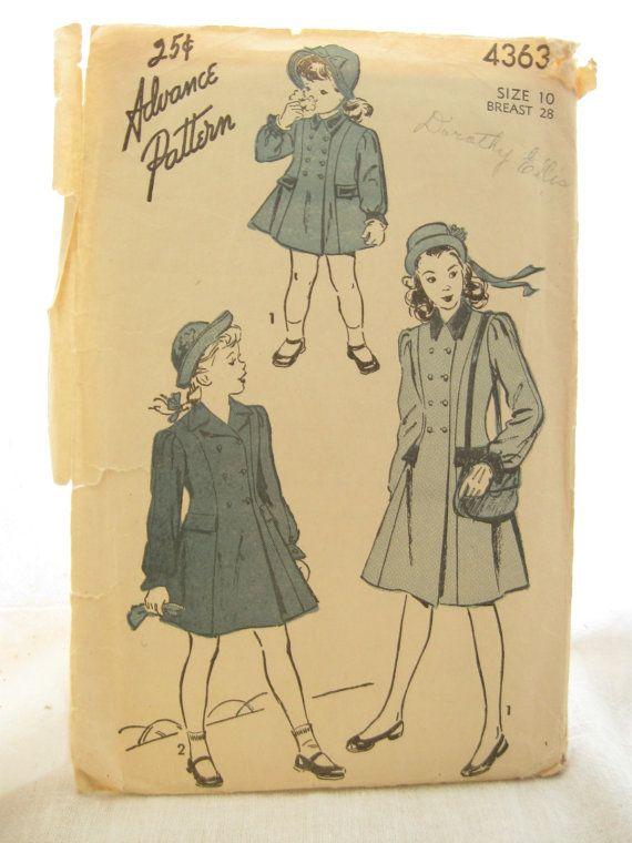Advance 4363 Girls 1950s Princess Seam Coat or Jacket Pattern ...