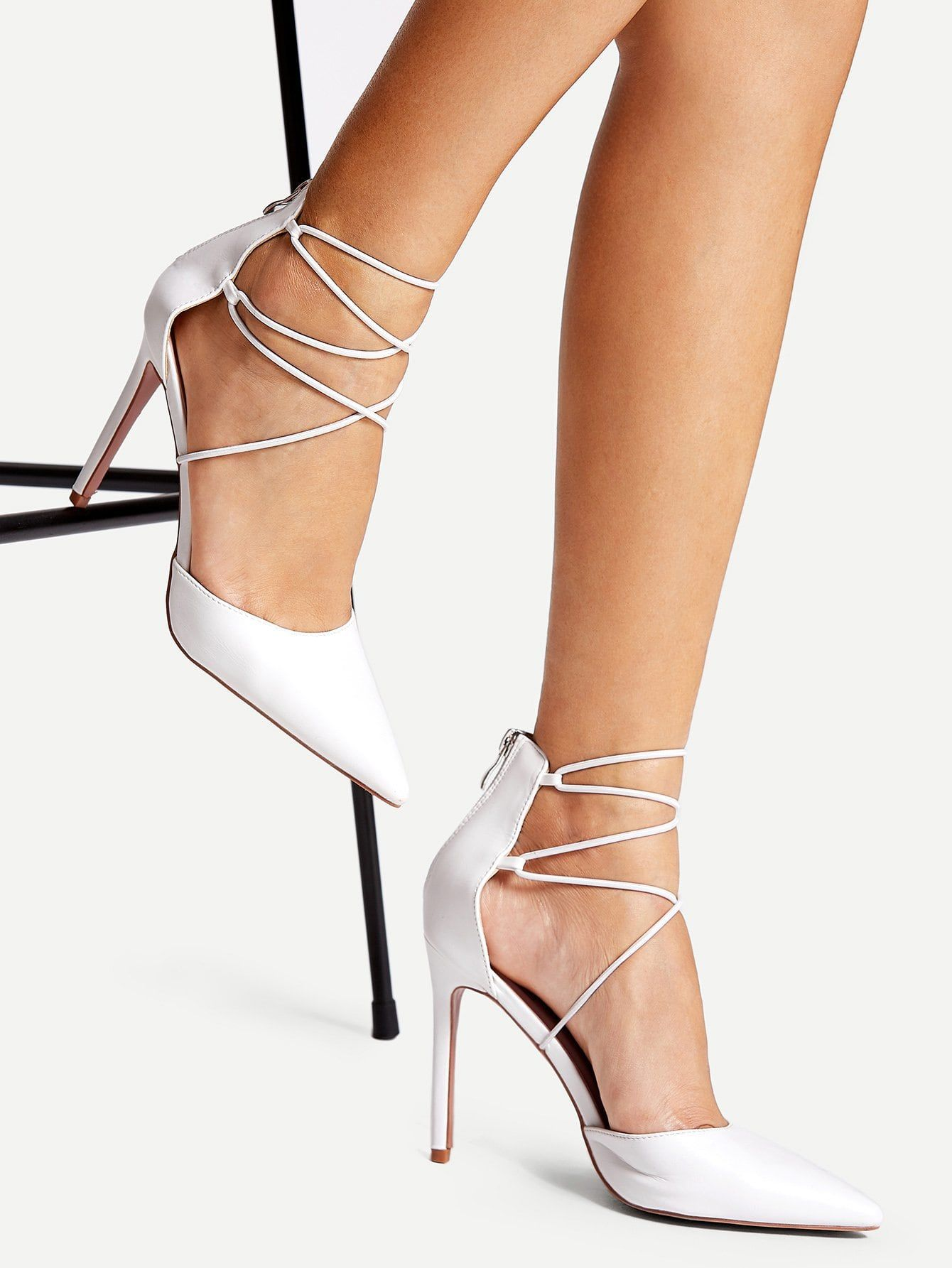 eb556daf5a39 Party White High Heel Stiletto Criss Cross Strap Point Toe Heels ...