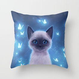 Siamese kitten Throw Pillow Illustration, Siamese