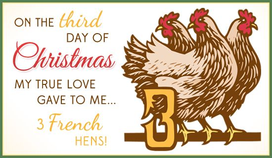 Third Day Of Christmas 2020 3 French Hens in 2020 | Free personalized christmas cards