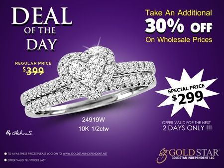 Grab the Deal of the Day today!!! We are offering selected pieces of fine jewelry for an amazingly low price. Hurry up! Quantities are limited. Be sure to check our Deal of the Day on regular basis with amazing jewelry at amazing prices.
