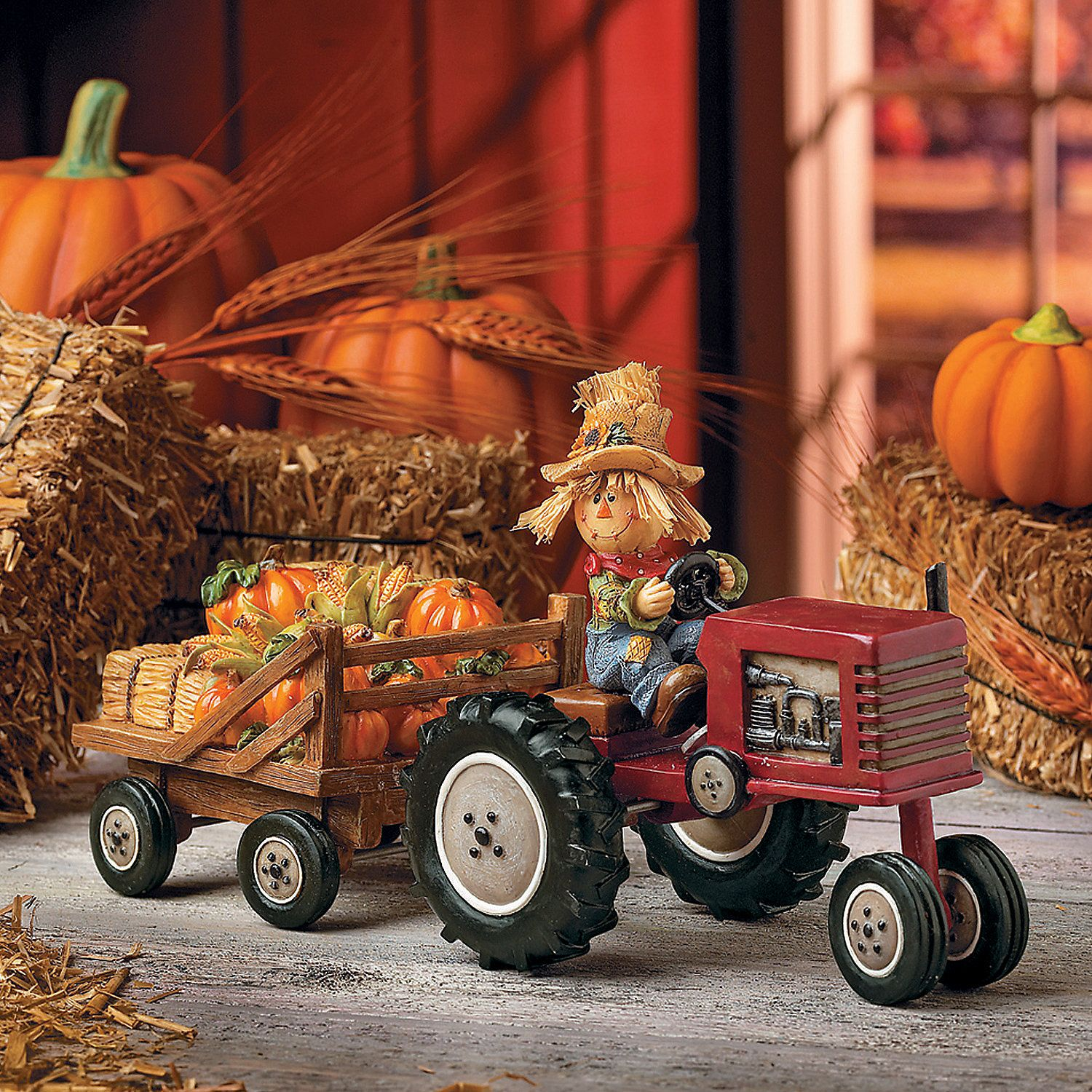 Scarecrow with Hay Trailer Harvest