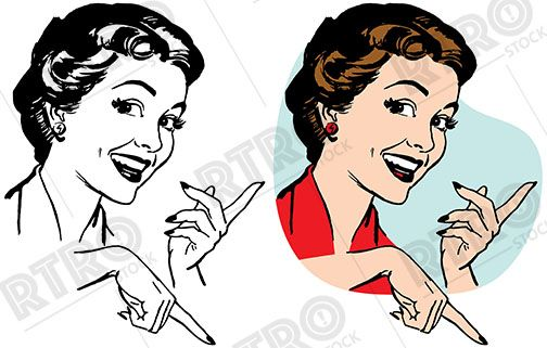 Smiling woman pointing at something exciting vintage retro ...