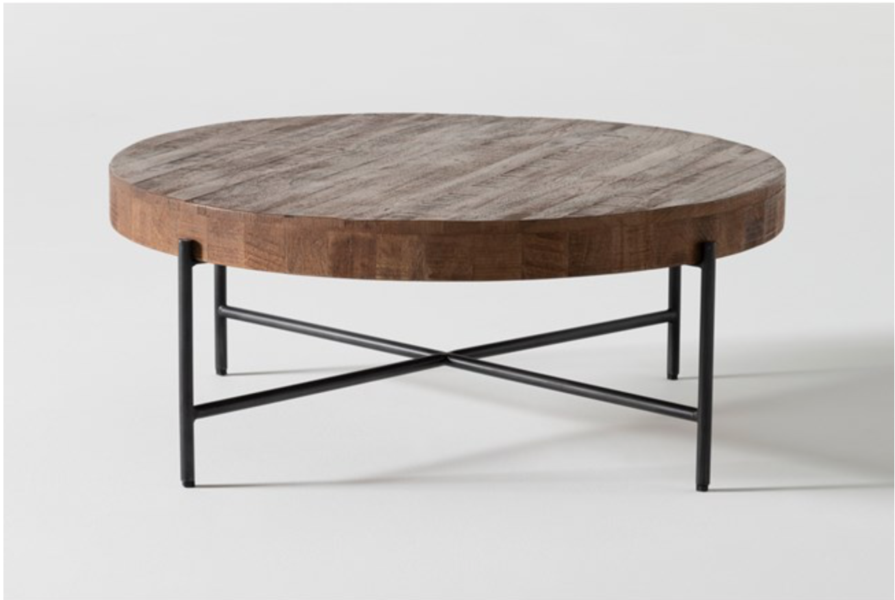 Dunkin 38 Inch Round Coffee Table Sectional Coffee Table Round Wood Coffee Table Coffee Table [ 876 x 1306 Pixel ]
