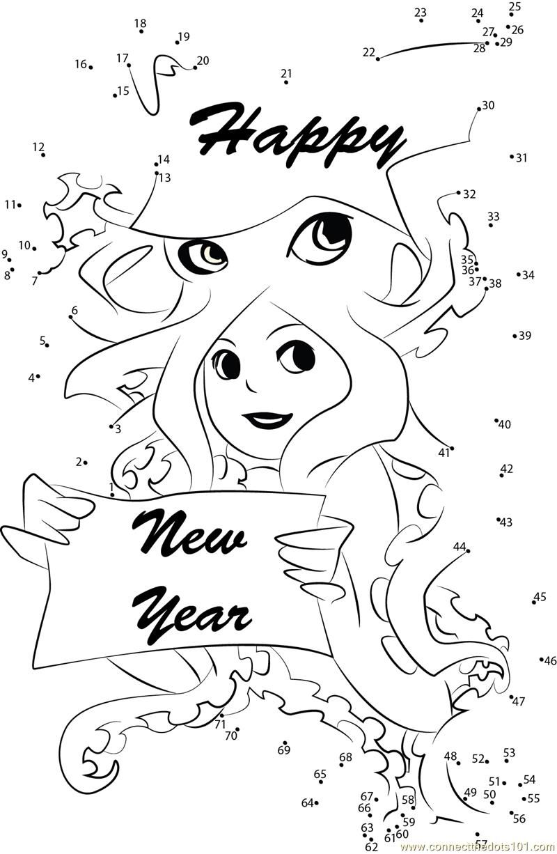 Happy New Year Wishes Connect Dots Printable Flower Coloring Pages Coloring Pages