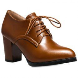 Stylish Women's Pumps With Solid Colour and Lace-Up Design
