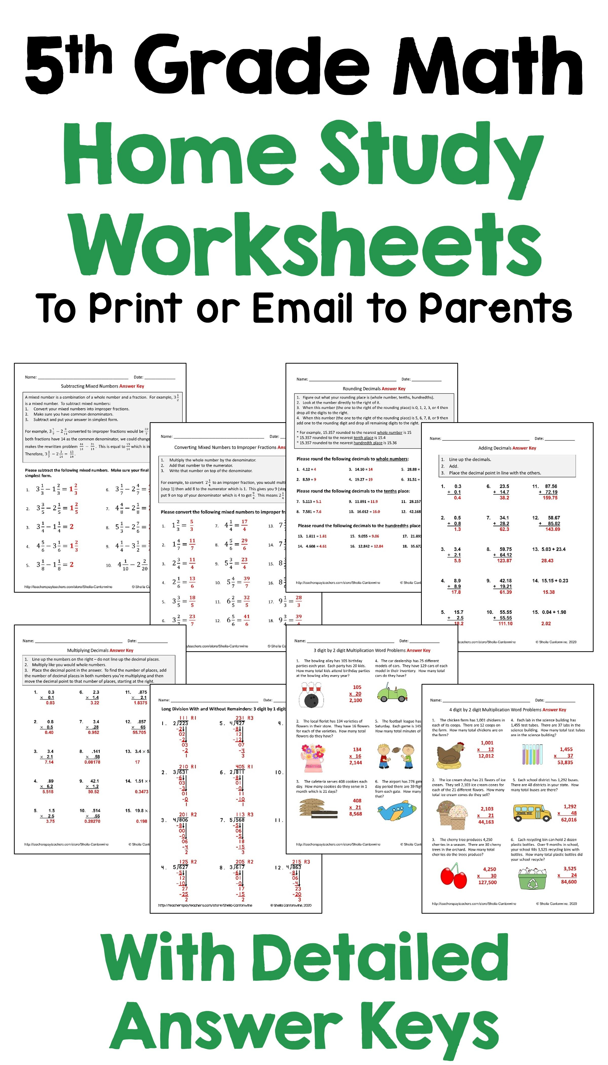 5th Grade Math Home Study Packet To Print Or Email To