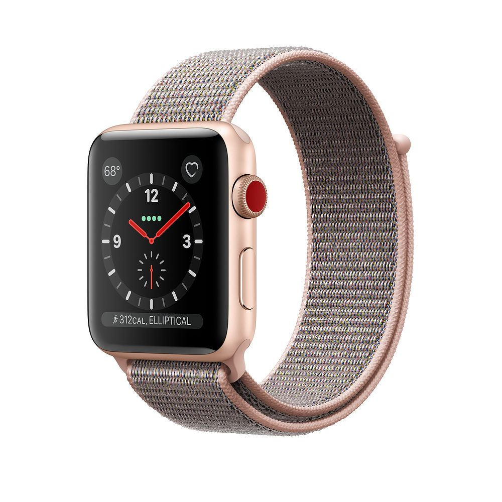 Apple Watch Gold Aluminum Case with Pink Sand Sport Loop