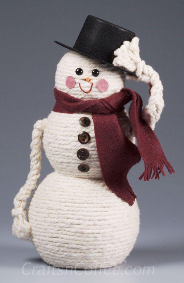 Diy Cord Wrapped Snowman Craft Snowman Crafts Diy Snowman