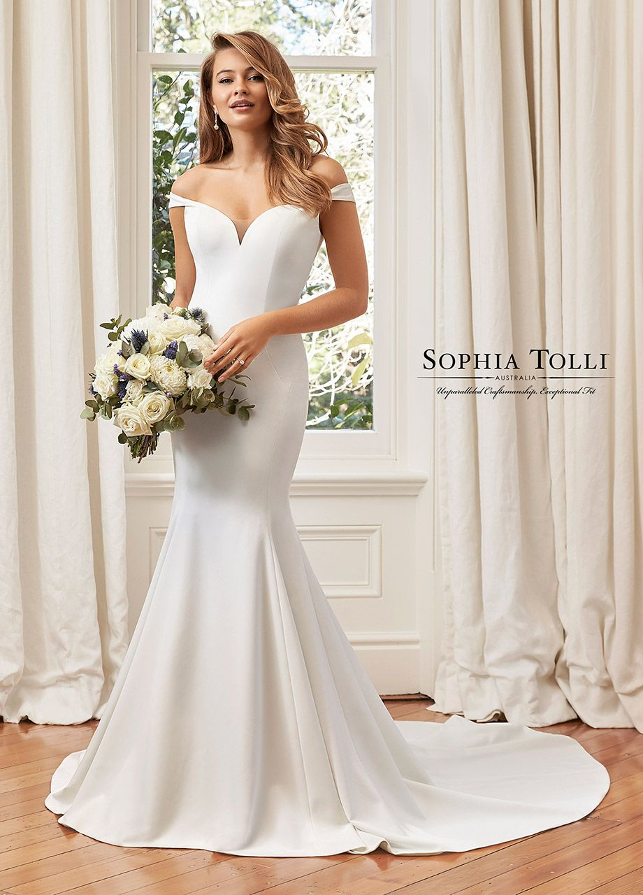 Satin Crepe Off The Shoulder Fit Flare Wedding Dress Y11961