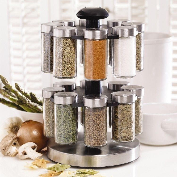 Beautiful Revolving Spice Rack Rotating Stainless Steel Swivel Herb Stand Kitchen  Carousel