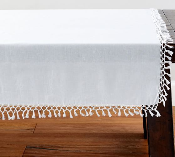 Belgian Linen Fringe Knotted Table Throw Table Throw