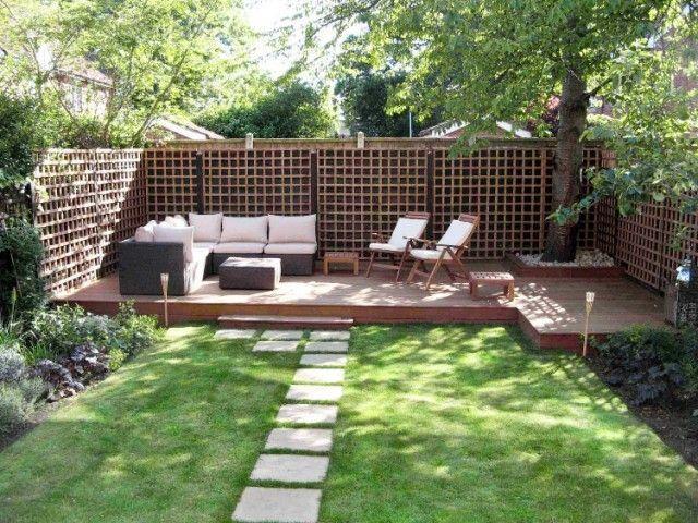 brise vue terrasse bois massif pas japonais pelouse mobilier - Brise Vue Terrasse Bois