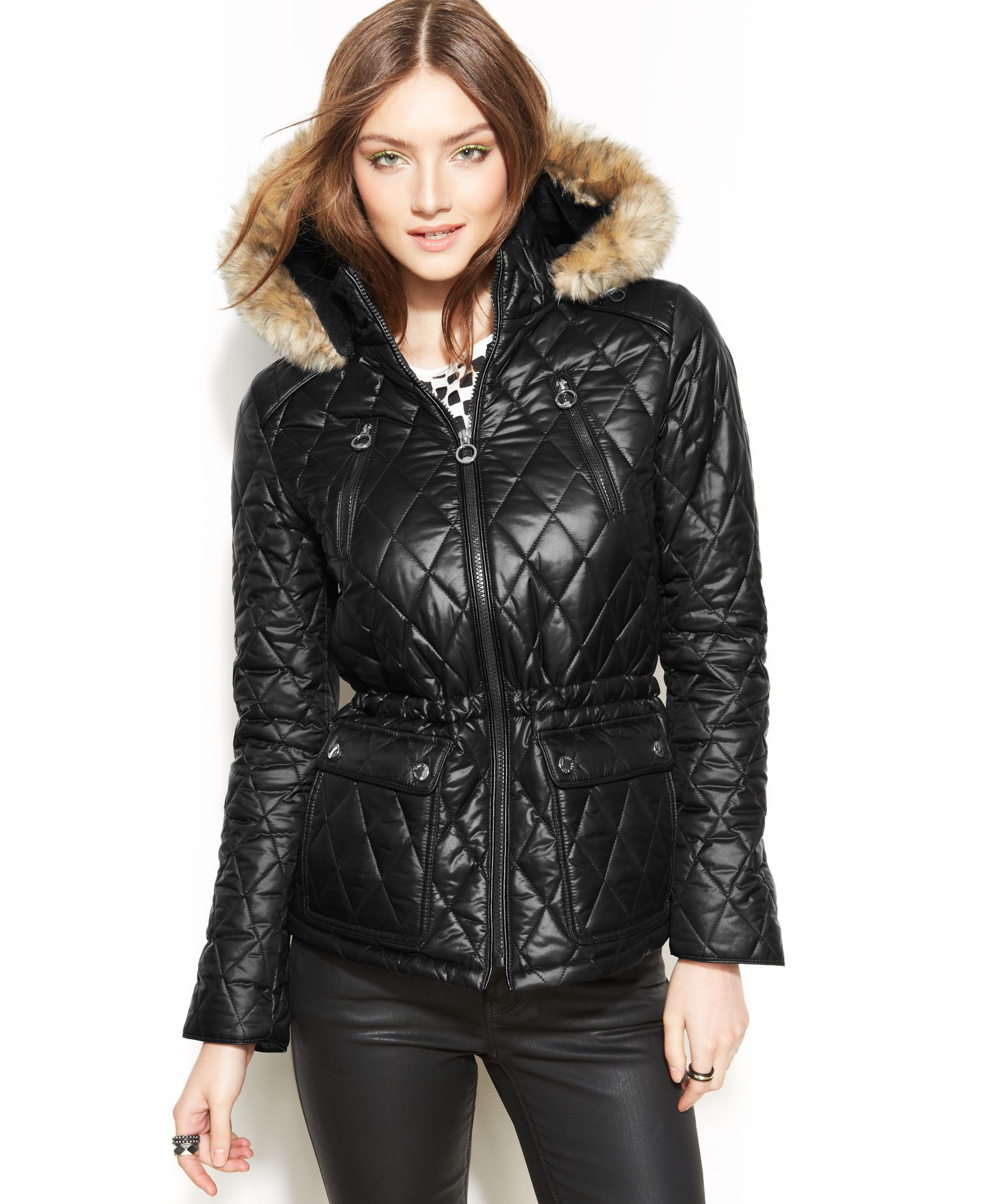 Laundry By Design Hooded Faux Fur Trim Quilted Puffer Coat