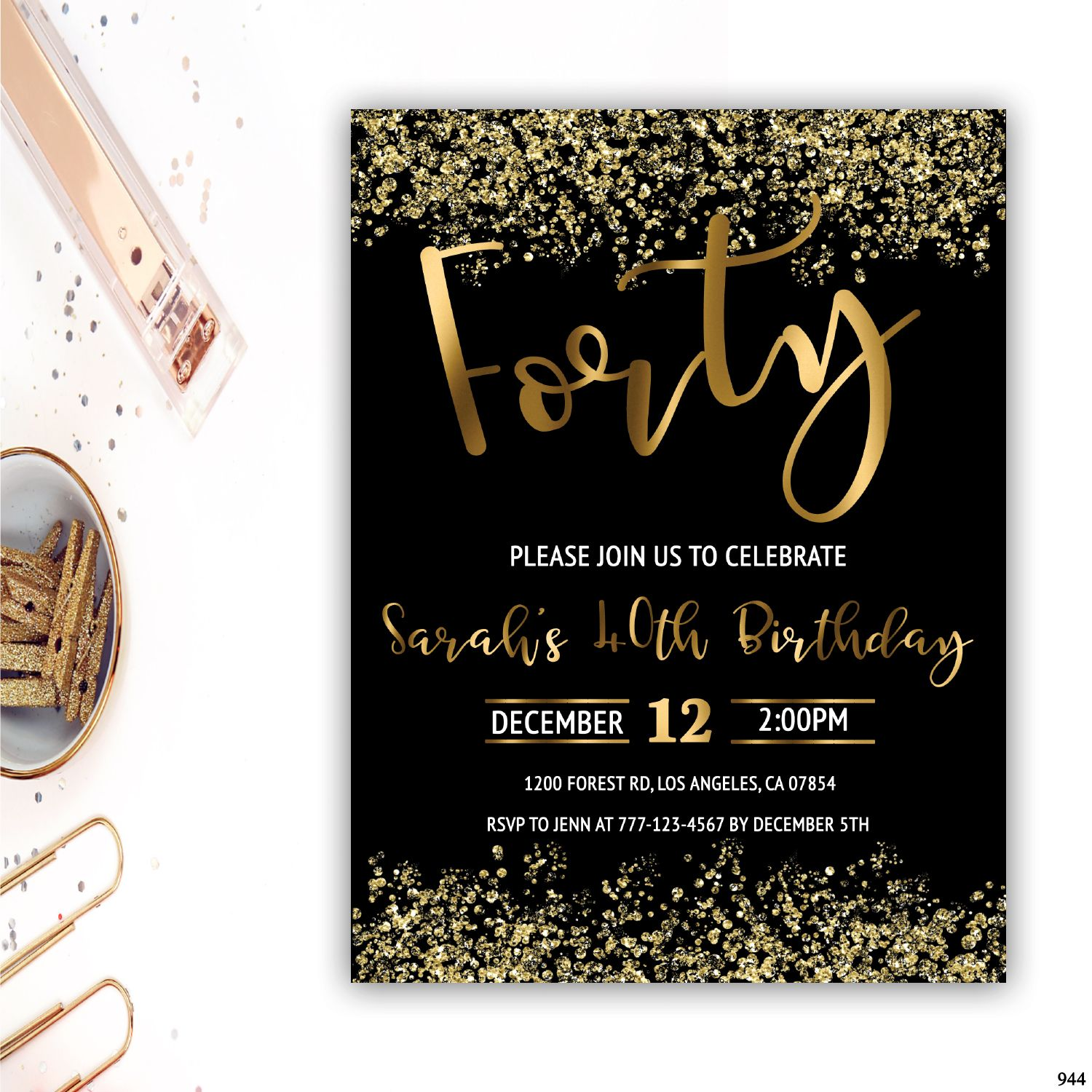 40th Birthday Invitation Adult Invitations Gold Foil Confetti
