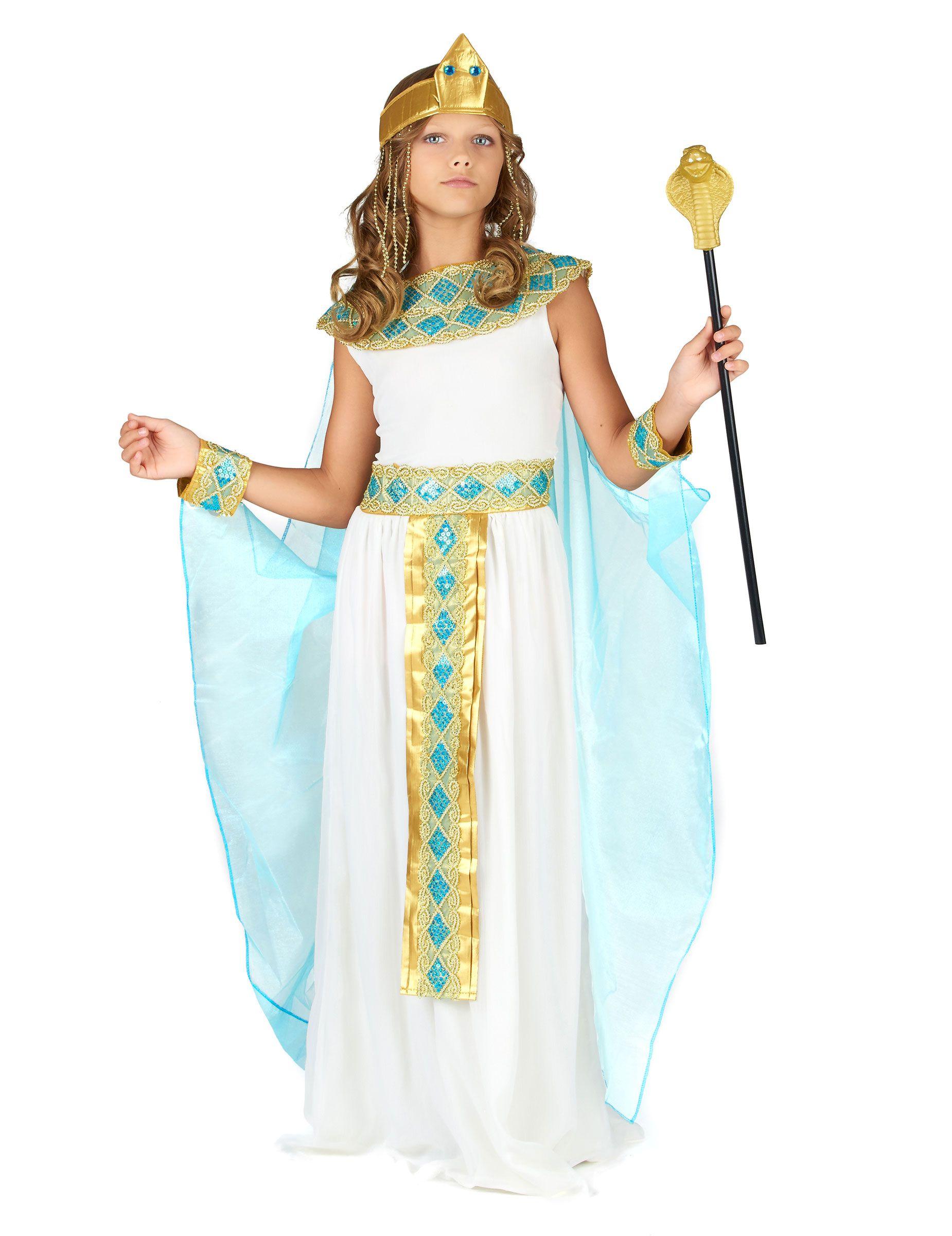 Kleopatra Kinderkostum Agypterin Kostum Weiss Gold Blau Gunstige