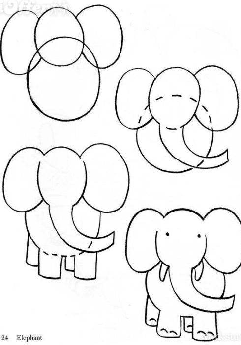 How To Draw A Simple Elephant How To Draw In 2019 Pinterest
