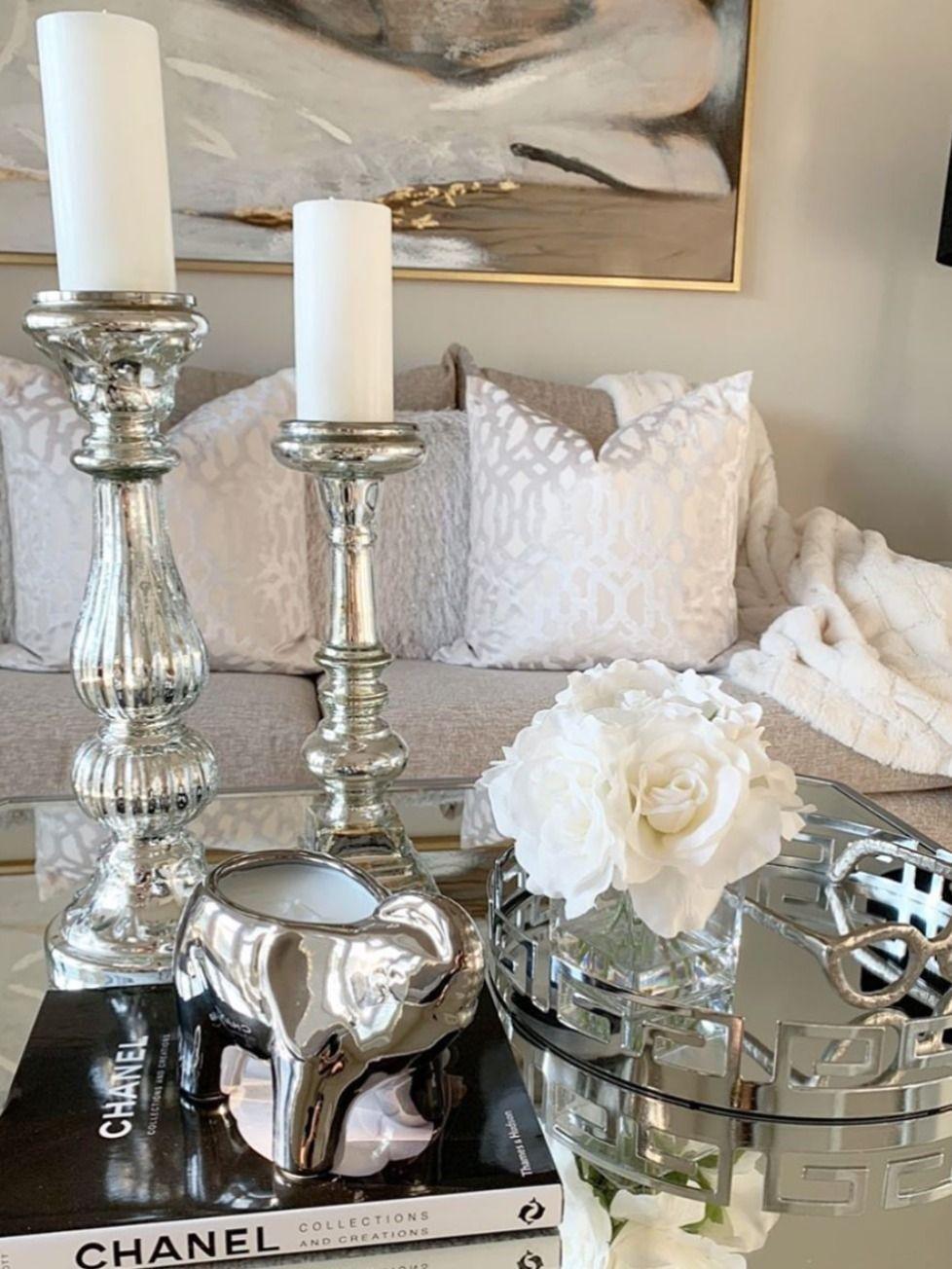 silver elephant candle  glam kitchen decor elegant