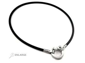 Black rubber stainless steel men s charm holder necklace by vincenzo black rubber stainless steel men s charm holder necklace by vincenzo taormina contemporary modern men s aloadofball