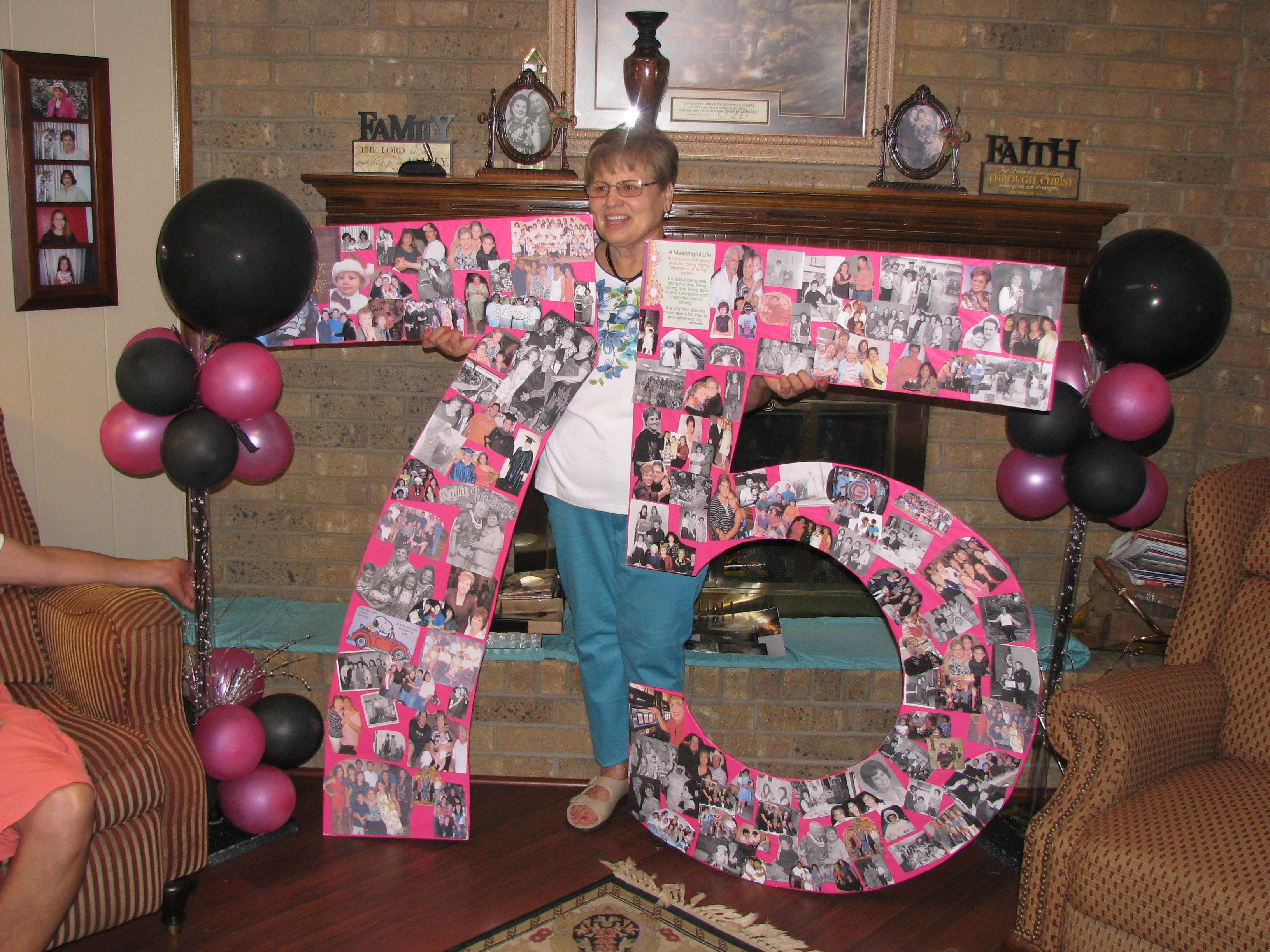 Poster board for mother 39 s 75th birthday party worked out for 75th birthday party decoration ideas