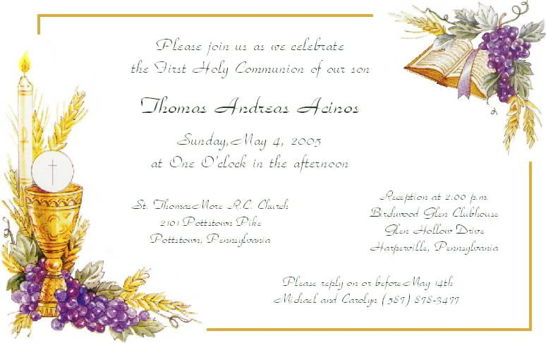 Free Communion Invitation Templates Amazing Sample First Communion