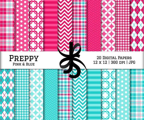 Digital Scrapbook Papers-Preppy-Pink and Blue-Chevron-Argyle-Plaid-Stripes-Wallpaper-Backgrounds-Prep-Girl Pattern-Instant Download Clip Art