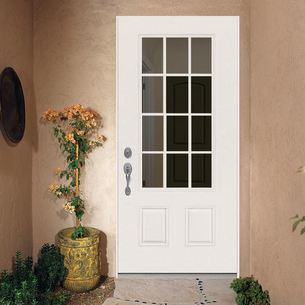 Jeld Wen 36 In X 80 In 12 Lite Primed Steel Prehung Right Hand Inswing Back Door Thdjw190900028 The Home Depot In 2020 Exterior Doors With Glass Steel Doors Exterior Painted Front Doors