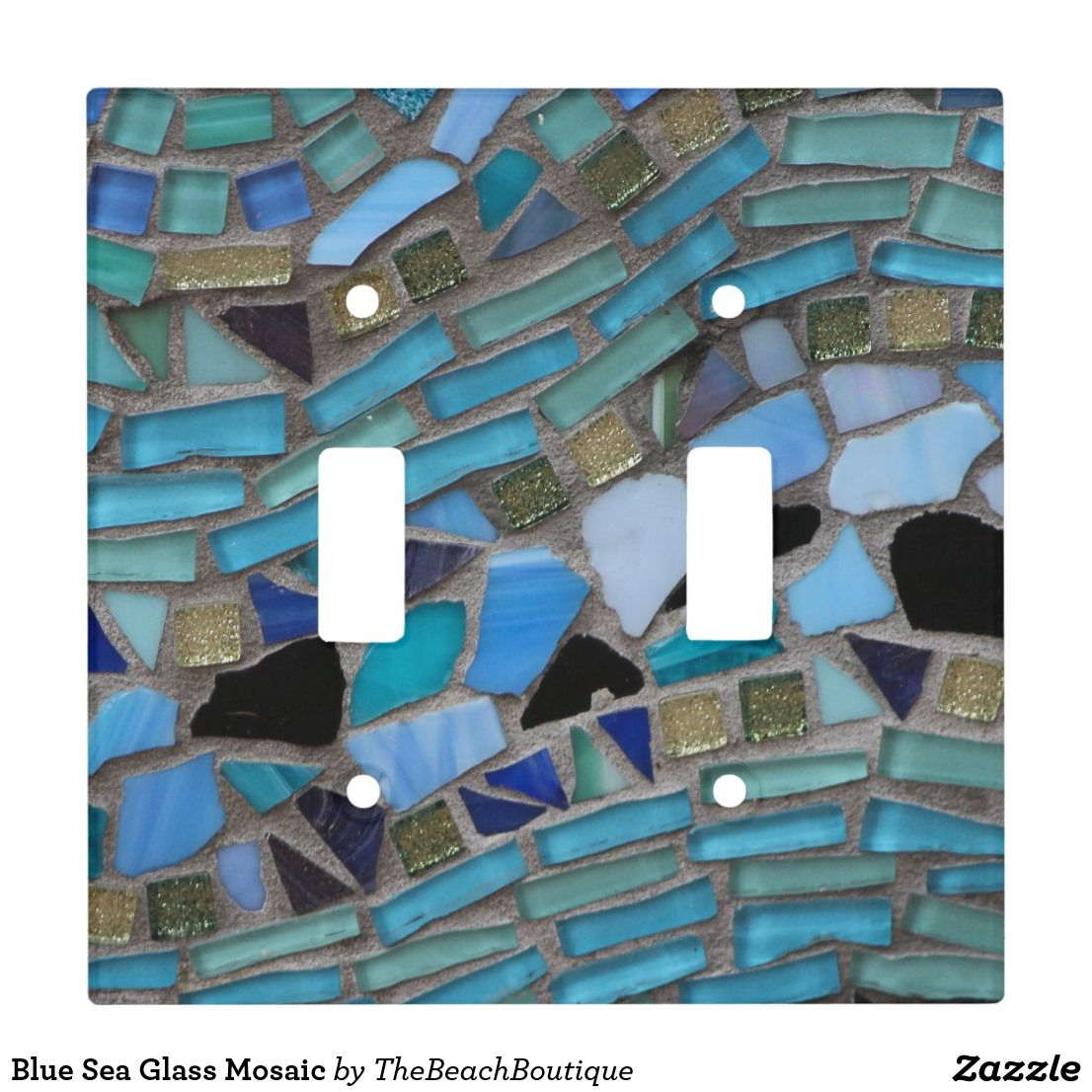 Blue Sea Glass Mosaic Light Switch Cover Zazzle Com Light Switch Covers Sea Glass Mosaic Mosaic Glass