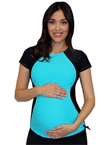 401004986b100 Mermaid Maternity Womens Maternity Short Sleeve Illusion Rash Guard Swim  Shirt Medium Tropical