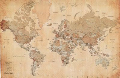 sepia tone vintage style antique look world map i would love to have it pinned to a cork board so pins could be inserted into certain locations