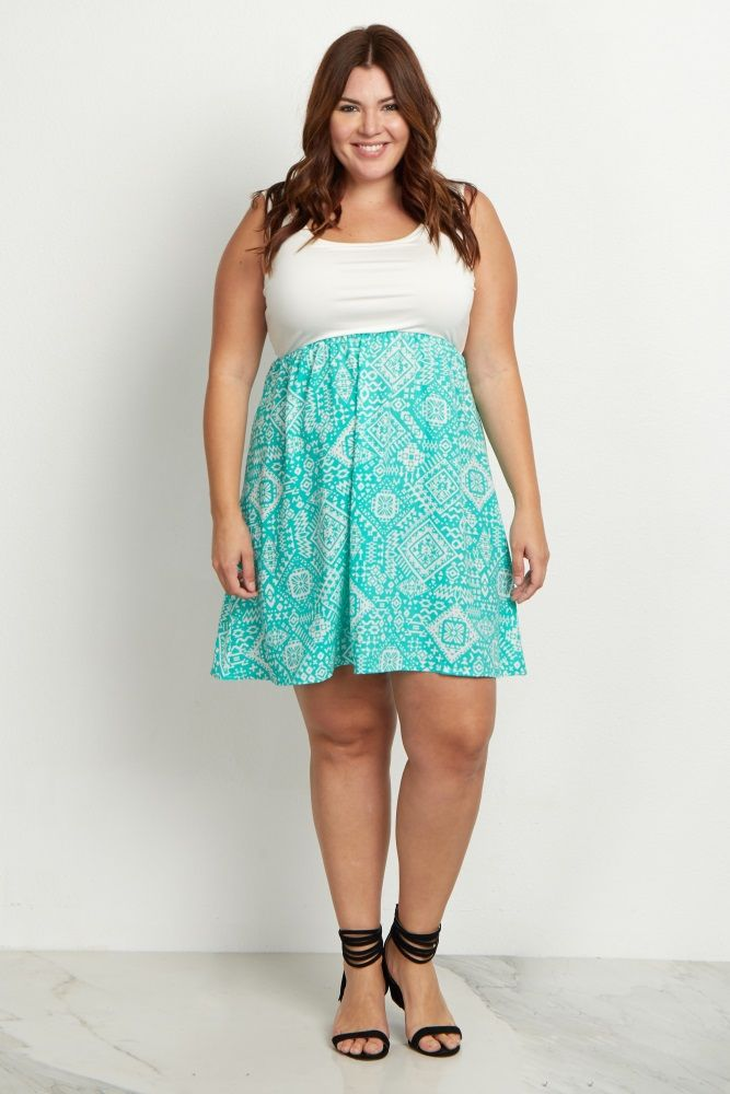 Mint Green Tribal Bottom Plus Size Maternity Dress Prego Clothes