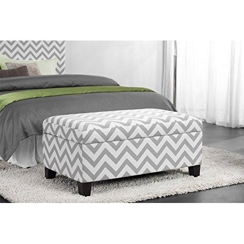 Bedroom Storage Ottoman Bench Trunk Upholstered Fabric Footstool ...