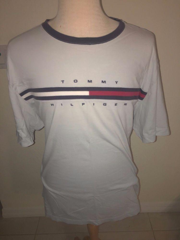 Vtg Tommy Hilfiger Lt. Gray T Shirt Size XXL Spelled Out Embroidered Stripe LOGO #TommyHilfiger #BasicTee