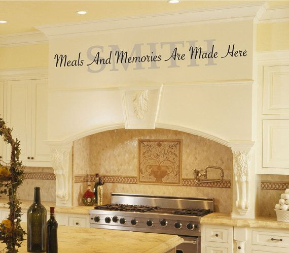 kitchen vinyl wall decal - meals and memories are made here with