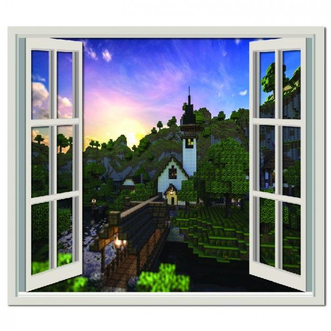 Minecraft Landscape Wall Sticker Window Wall Decal Part 65