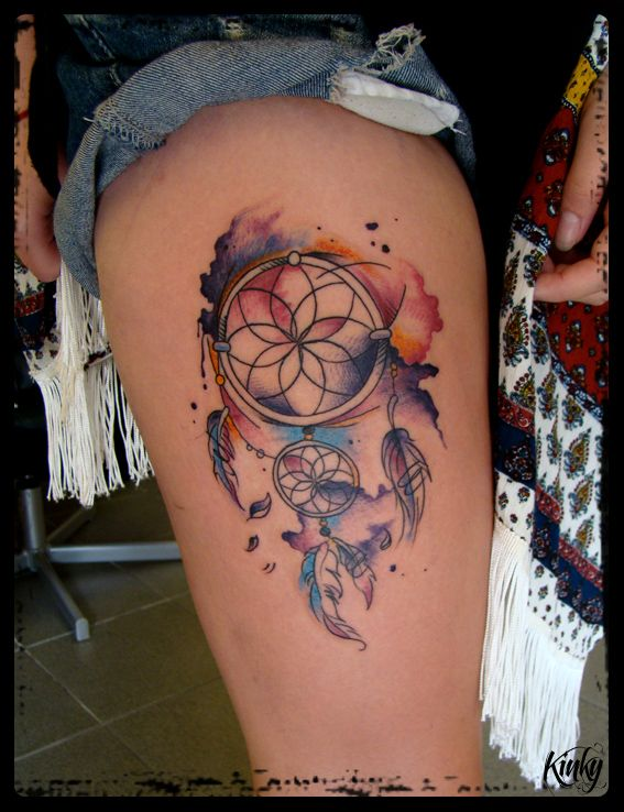 łapacz Snów Dreamcatcher Tattoo Watercolour Tatuaz