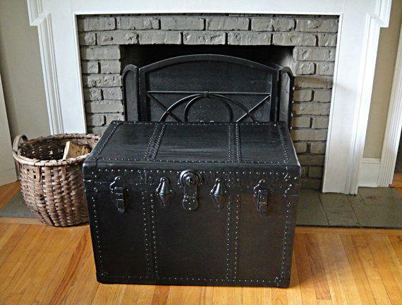 black night steamer trunk flat top steamer trunk foot locker