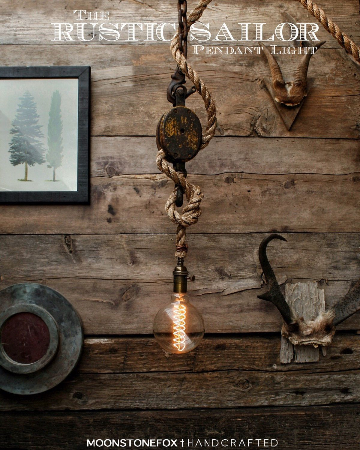 Pendant Lighting By Rustic State Authentic Vintage Lights: The Rustic Sailor Pulley Pendant Light