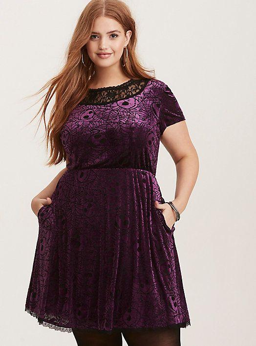 Disney Nightmare Before Christmas Black   Purple Velvet Illusion Skater  Dress e4960271a