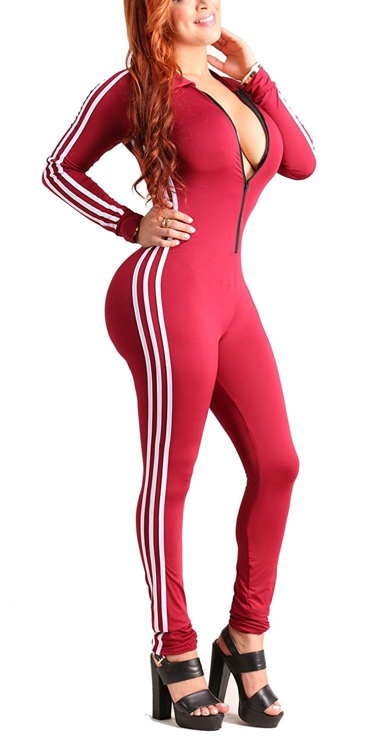 bf403dd0bdc Women s Sexy Zipper Front Long Sleeve Bodycon Club Party Long Jumpsuit  Rompers - Red - CD186XUQEHW