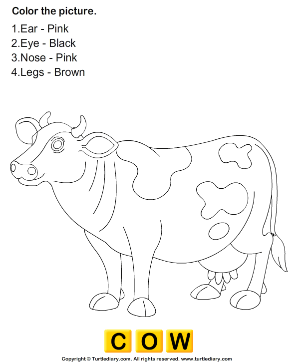 Coloring Pages Kids Parts Body: Animals Worksheets - Color The Farm Animals 1