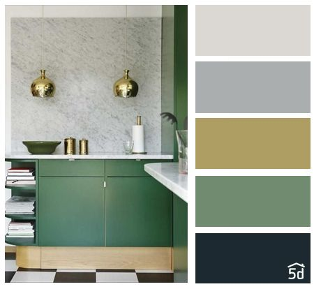 Kitchen interior, color palette, green black #greykitcheninterior