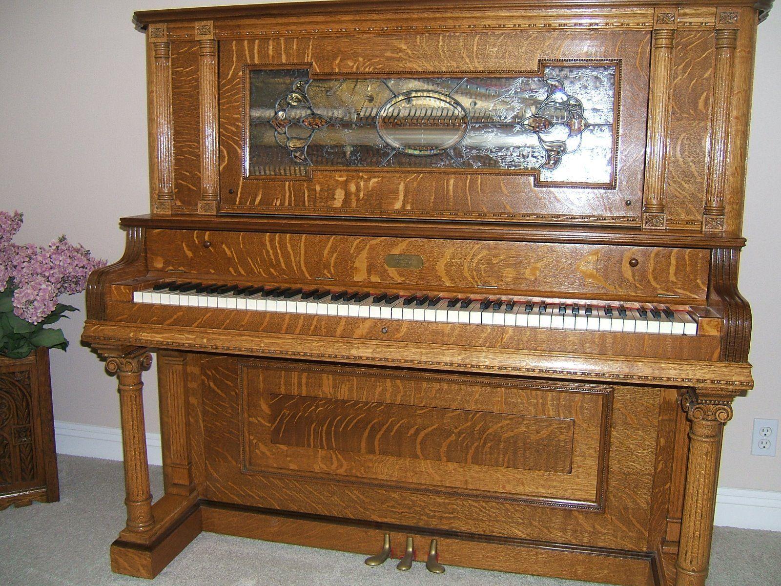 1904 Lindeman Quarter Sawn Oak Antique Piano Bench Piano Bench Pianos And Bench