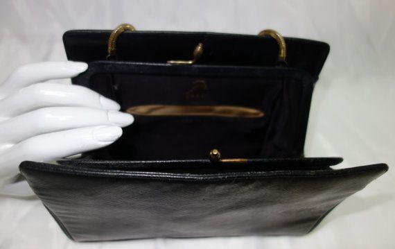 Vintage 60s KORET Black Leather Evening Purse by Vintageables
