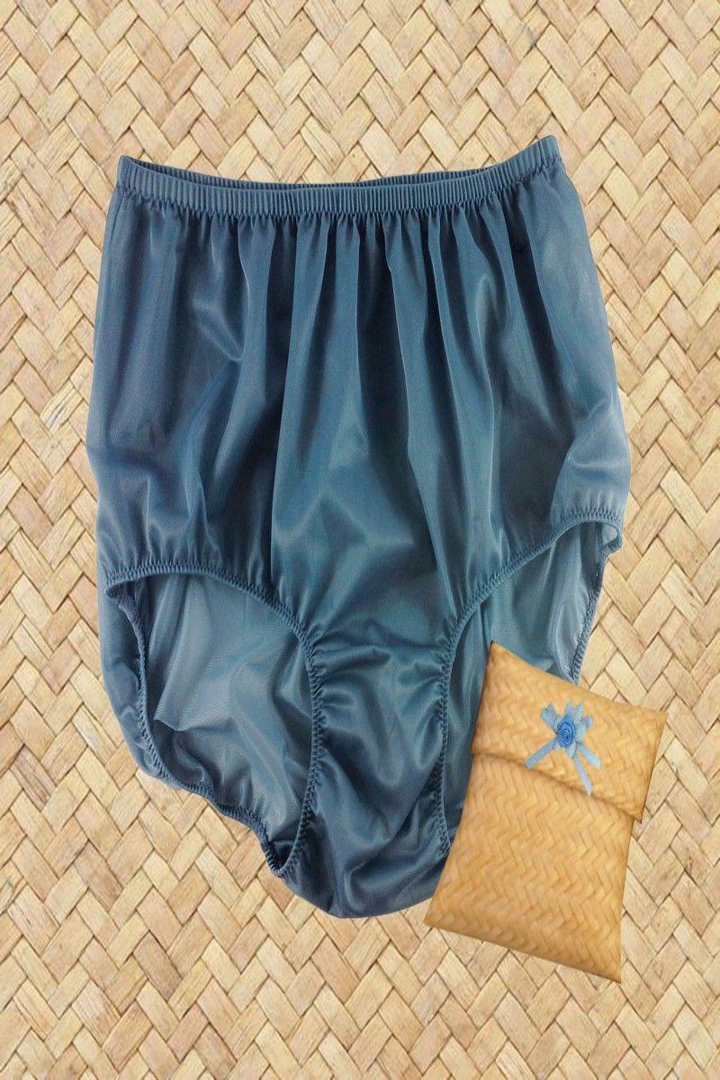L Hip 40 inches Vintage Women Panties Briefs Underwear Polyester Nylon Blue