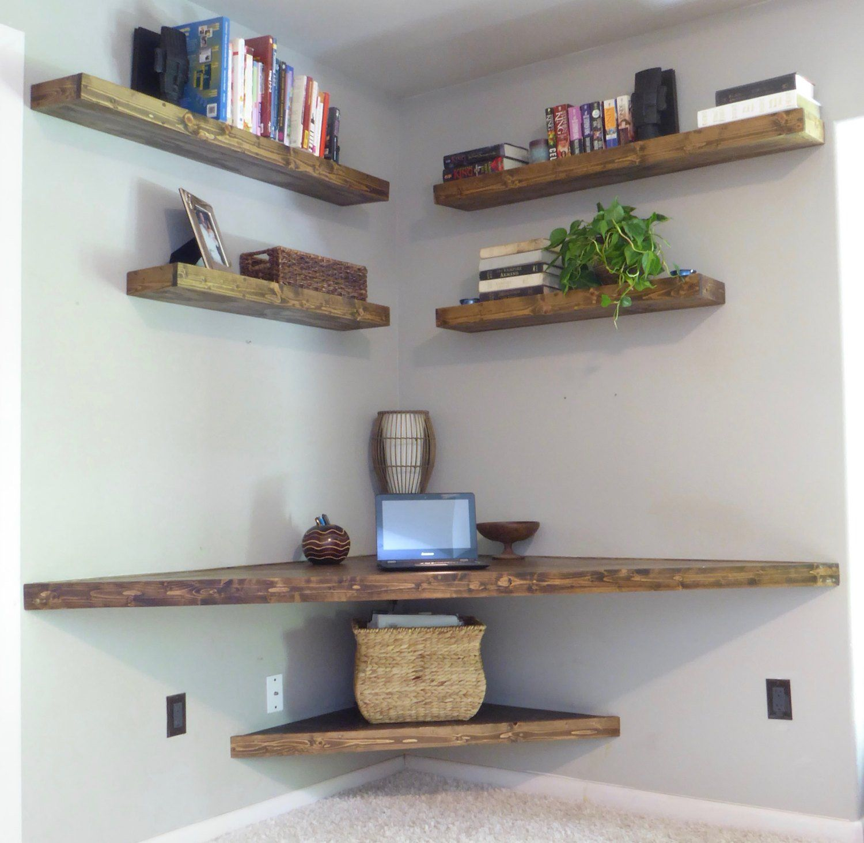 Floating Corner Desk Modern Corner Desk Floating Shelves Home