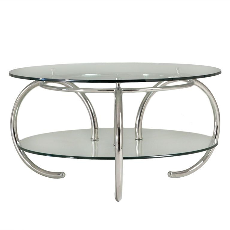 1stdibs A 1960s Nickel Plated Tubular Two Tiered Glass Coffee Table Table Coffee Table Tea Table