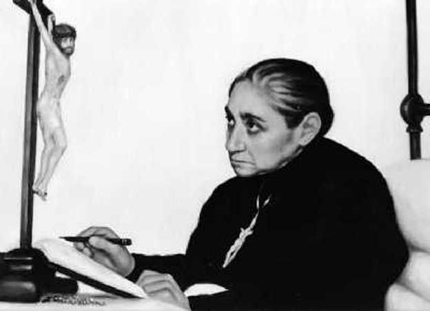 "Luisa Piccarreta (Italian,1865-1947) At the age of 17,Luisa experienced a ""mystical union"" with Jesus and remained bedridden for the remainder of her life;it is reported that she lived ""exclusively"" on the Holy Eucharist,and wrote a 36 volume of her mystical experiences that she believed was dictated by Christ himself.She is currently being considered for the canonization process of the Roman Catholic Church."