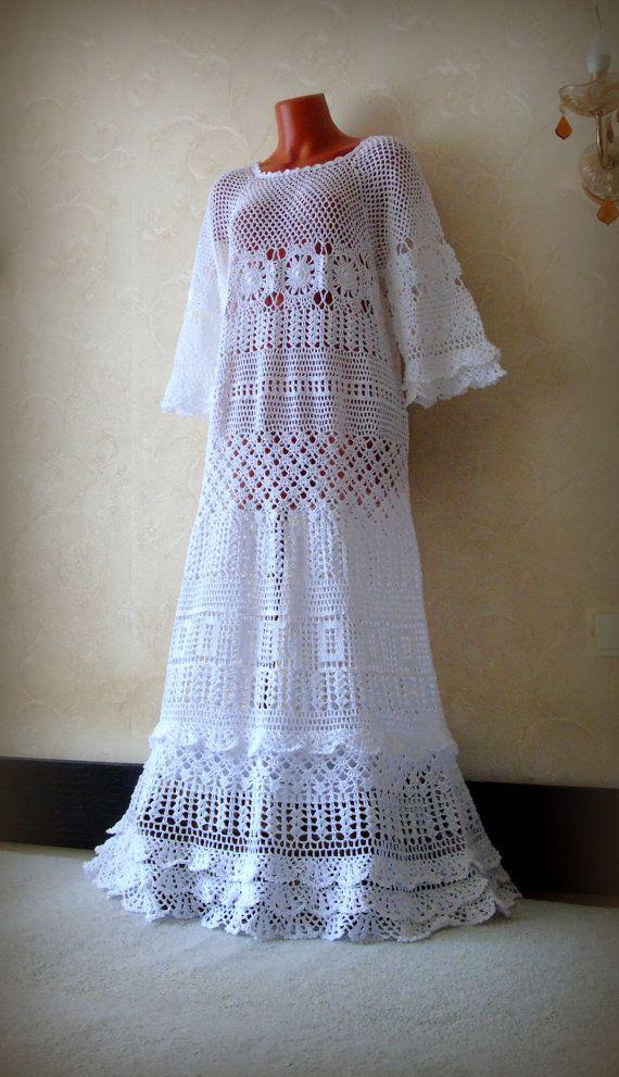 Weiß Boho Kleid Bell Ärmel Maxi einfach Bridal Kleid ...