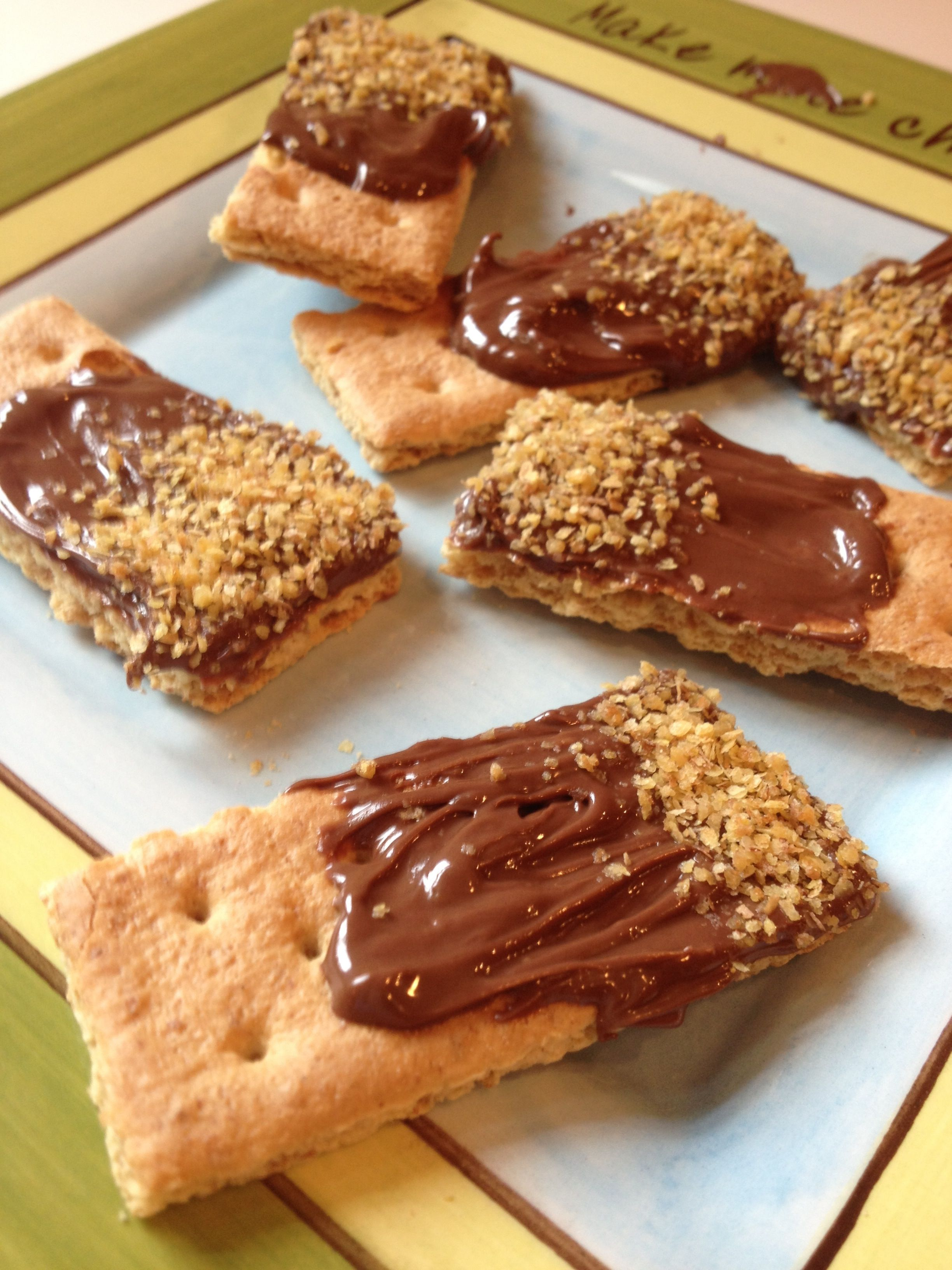 Back to #School Snacks--Nutella Dipped Grahams w/ wheat germ. Gotta get that #healthy twist in there! #snack